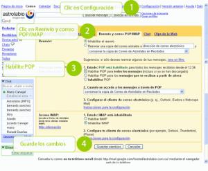 Pantalla de configuración de POP en Gmail