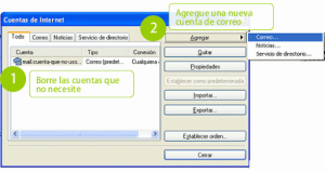 Cuadro de diálogo de cuentas de Outlook Express