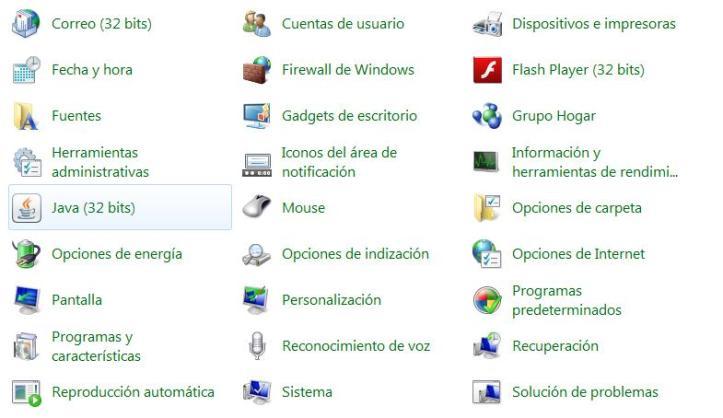opción Java en el Panel de Control de Windows