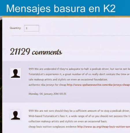 Mensajes basura en K2